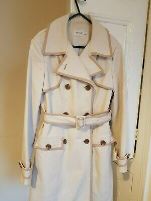 Reiss Contrast Belted Classic Trench S 8-10 R£329 Coat Long Parka Rain Flare Mac • 51£