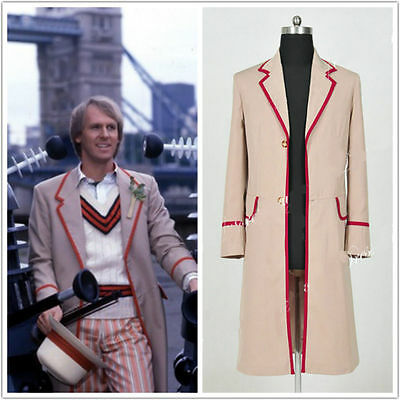 Who Is Doctor The Fifth Dr Peter Davison Cosplay Coat Jacket Costume Cloak • 26.09£