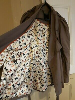 Ted Baker Bell Sleeve Trench Coat 2 8-10 Rrp £329 Butterfly Flare Parka Rain Mac • 11£