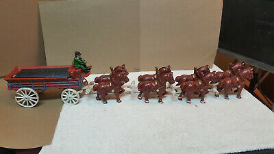 $ CDN67.98 • Buy VTG (8) Cast Iron Clydesdale Horses With Carriage & 1 Driver / Budweiser Wagon