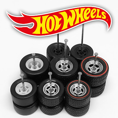 $ CDN1.24 • Buy Hot Wheels 5 SPOKE DRAG Real Riders Wheels And Tires Set For 1/64 Scale