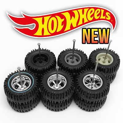 $ CDN8.74 • Buy Hot Wheels 5 SPOKE BIG OFFROAD Real Riders Wheels And Tires Set For 1/64 Scale