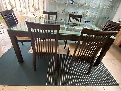 AU245 • Buy Dining Table, Coffee Table, 6 Chairs: Glass Tops, Leather Seats.