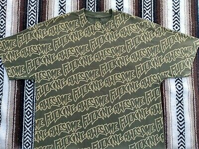 $ CDN87.86 • Buy F*cking Awesome T Shirt XL Olive All Over Print AOP Hype Supreme Bape USA Made