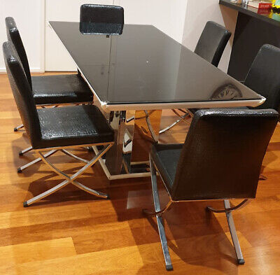 AU299 • Buy 7 Pcs Dining Table Set Modern 6 Seater Glass Tabletop Faux Leather Chair Black