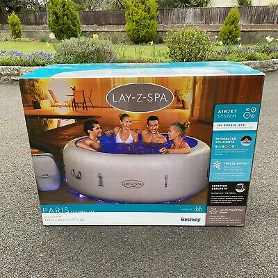 Lay-Z-Spa Lazy Paris 6 Person Hot Tub Jacuzzi LED LIGHTS Brand New Free Delivery • 795£