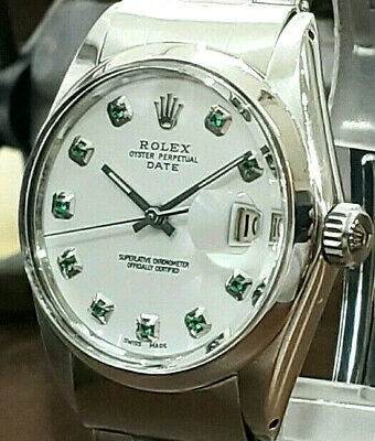 $ CDN6369.67 • Buy Mens Vintage ROLEX Oyster Perpetual Date 34mm White Dial Diamond Stainless Watch