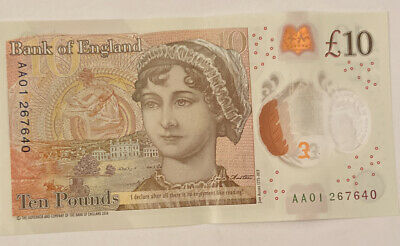 £10 Plastic Polymer Ten Pound Note AA01 Prefix Serial Number • 12£