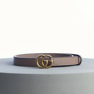 AU455.19 • Buy GUCCI 360$ Skinny Belt With Double G Buckle In Dusty Pink Leather