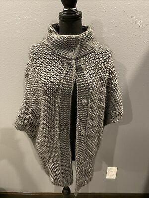 $ CDN48.54 • Buy Elsamanda Anthropologie Poncho Snap Up Sweater Solid Gray Chunky Knit Size S