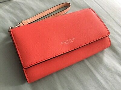 AU200 • Buy OROTON Estate Wallet Leather Purse Red Coral Clutch