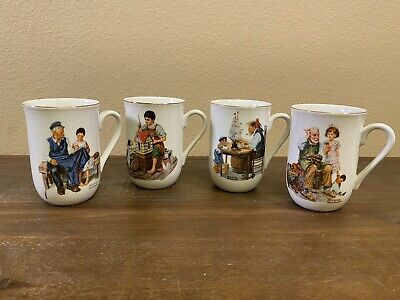 $ CDN24.18 • Buy Vintage Norman Rockwell 1982 Museum Coffee Mugs Set Of 4 Gold Trim Collectibles