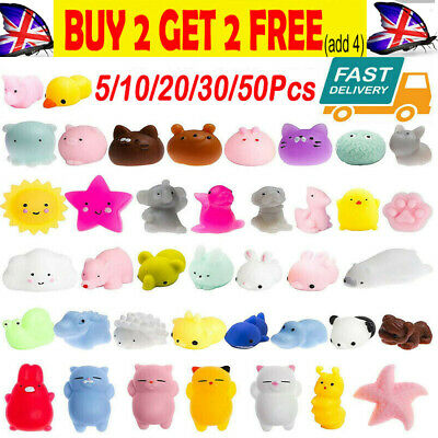 AU12.05 • Buy 20-60pcs Kawaii Mini Animal Stress Relief Mochi Squishy TPR Squeeze Toys