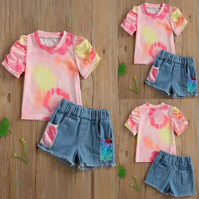 £9.49 • Buy Baby Girl Dye-tie Short Sleeve T-shirt Jean Pants Kids Summer Clothes Outfit Set