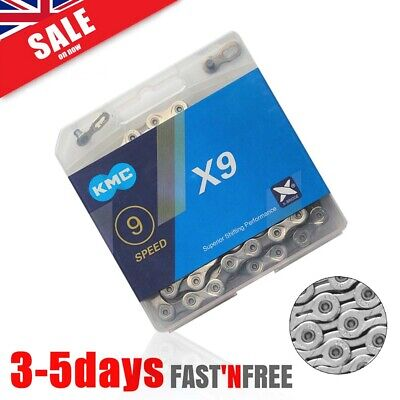 AU23.59 • Buy KMC X9 9 Speed Chain 116 Links Shimano MTB Bike Chain Silver Retail Box UK