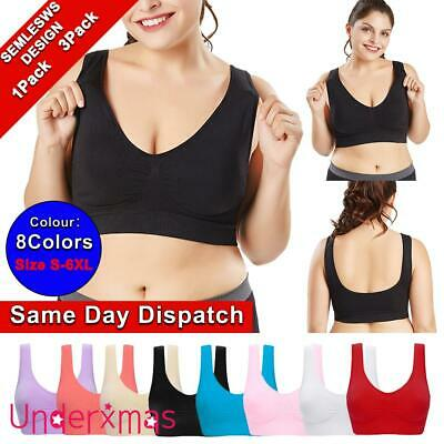 £8.59 • Buy Padded Sports Bra Yoga Gym Running Vest Support Crop Top Stretch Bras Plus Size