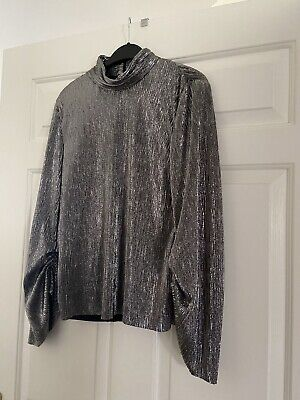 £16.99 • Buy Zara Silver Shiny Top Limited Edition Size M RRP £29.99