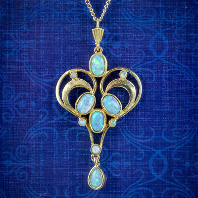 £250 • Buy Edwardian Style Opal Pendant Necklace Sterling Silver 18ct Gold Gilt