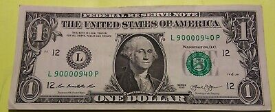 $2.95 • Buy 2013 $1 DOLLAR HIGH SERIAL NOTE  L 900009~40 CIRC.   5-0's TRINARY ~ NEAR BINARY
