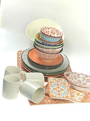 AU159.90 • Buy Dinner Set Of 26 Pieces Moroccan Style & Colours Scratch & Dent Clearance
