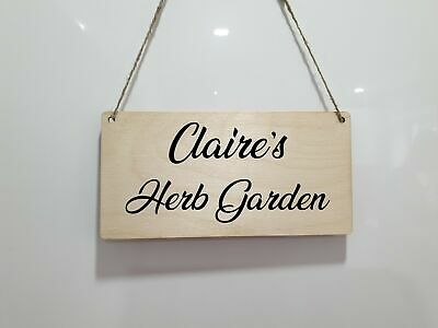 Personalised Herb Garden Plaque Name Words Sign Allotment Garden Shed Den Veg • 6.95£