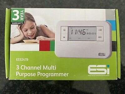£19.99 • Buy ESI Controls 3 Channel Multi-Purpose Central Heating Programmer ES3247B (NEW)
