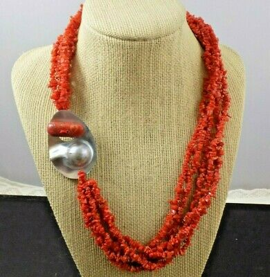 $149.99 • Buy Gorgeous Vintage Chunky Red Orange Branch Coral & Mabe Pearl Clasp Necklace 63g