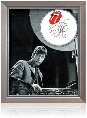 Charlie Watts Hand Signed The Rolling Stones Drum Skin Presentation AFTAL COA • 399£