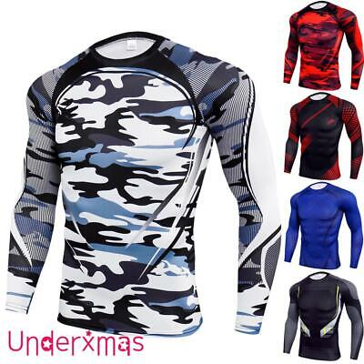 £9.59 • Buy Men's Compression Armour Base Layer Top Long Sleeve Thermal Gym Slim Fit Shirt