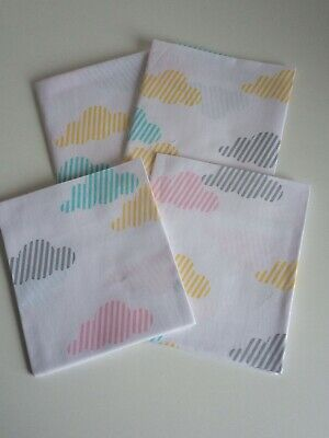 AU9 • Buy 4 Fat Quarters Fabric Pink Green Yellow  Clouds Mixed Cotton Material🐨