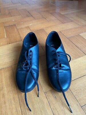 Girls Black Tap Dance Shoes With Toe And Heel Taps Size 3.5 1st Position  • 3.50£