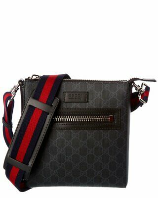 $ CDN1065.21 • Buy Gucci Supreme Small Leather Messenger Bag Men's Black