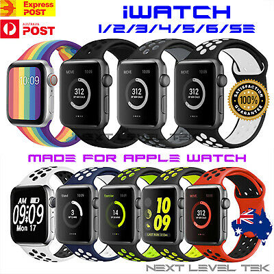 AU9.59 • Buy Silicone Sport Strap For Apple Watch Band 38/40/42/44mm Series SE 6 5 4 3 2 1