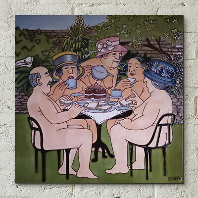 £30.95 • Buy Tea In The Garden Picture Tile By Beryl Cook 12  X 12  Wall Kitchen Gift 40599
