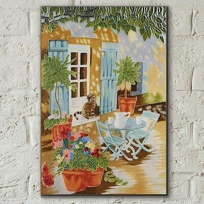 £30.95 • Buy Courtyard Cat By Judith Yates 8x12 Decorative Ceramic Tile Picture Gift 05917