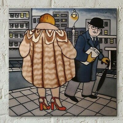 £22.95 • Buy My Fur Coat Picture Tile By Beryl Cook 8  X 8  Wall Art Kitchen Gift 05914