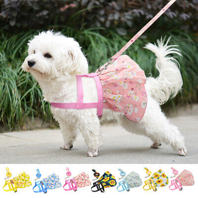 Cute Floral Small Pet Girl Dog Dresses Harness And Lead Puppy Cat Summer Clothes • 5.99£