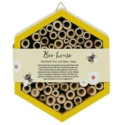 £16.99 • Buy YELLOW WOODEN BEE HOUSE / HOTEL Hexagonal Solitary Hive Shaped Ecosystem NEW