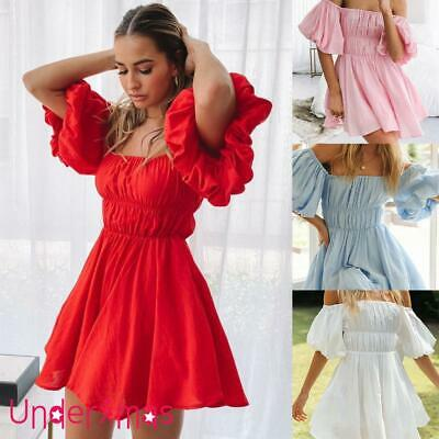 £12.79 • Buy Women's Off Shoulder Puff Sleeve Mini Dress Ladies Summer Holiday Party Sundress