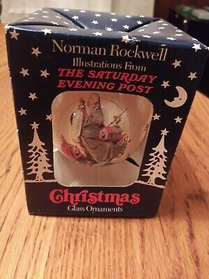 $ CDN9.74 • Buy Norman Rockwell The Saturday Evening Post Christmas Glass Ornaments PEACE NEW