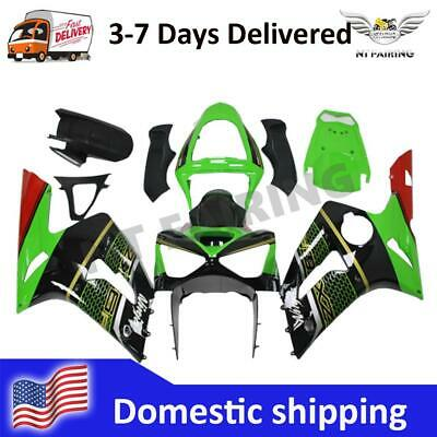 $469.99 • Buy WOO Injection Green Black ABS Fairing Fit For Kawasaki 2003-04 636 ZX6R T035