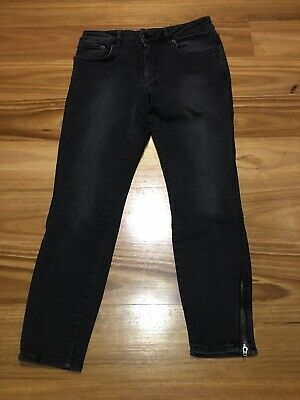 AU19 • Buy Ksubi Blk Faded Jeans W28 Stretch Zipper Ankle
