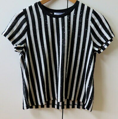 AU29.99 • Buy Stylish Black & White Striped With Sequins Knit Top From Zara Trafaluc - Size S