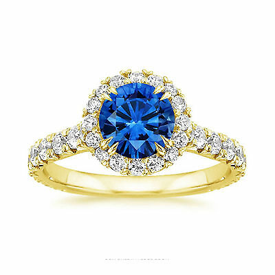 AU3685.80 • Buy 2.60 Ct Blue Sapphire Gemstone Diamond Ring Solid 14K Gold Round Size L M N O