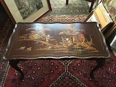 £100 • Buy Oriental Lacquered Chinoiserie Wooden Coffee Table, Pictorial, Cabriole Legs