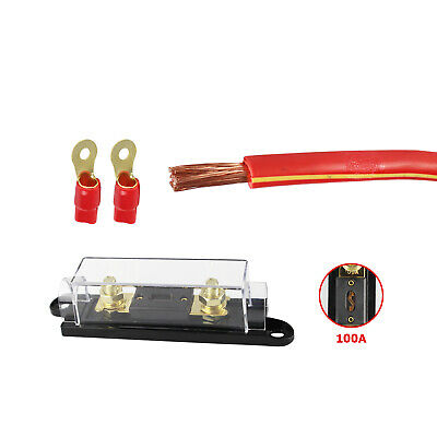 $13.99 • Buy 100A ANL Fuse Holder 0 GAUGE Truck Battery Wire Install Kit Overcurrent Protect