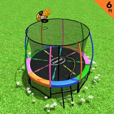 AU594.95 • Buy Kahuna Trampoline 6ft With Basketball Set - Rainbow