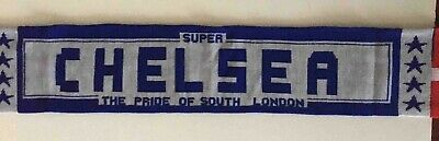 CHELSEA  Football Scarf Double Sided Jacquard Knit Made In England • 2.99£