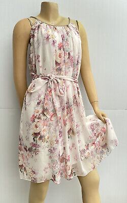 AU38 • Buy Forever New Dress Size 16 White Pink Floral Chiffon , Races, High-tea, Wedding