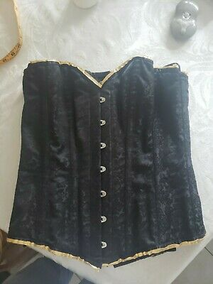 Women Size 30 Overbust Corset Lingerie Shaper  Steel Boned Black Brocade • 10.44£